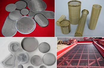 Three types of woven wire filter cloth and a vibrating screen mesh.