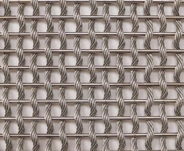 a piece of decorative woven wire mesh with stainless steel round wire in weft and cable - Decorative Wire Mesh