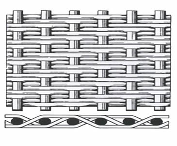 A drawing of the twill dutch weave wove wire cloth.