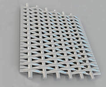 A piece of stainless steel filter mesh panel with twill dutch weave.